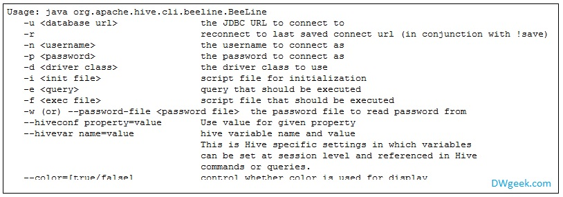HiveServer2 Beeline Command Line Shell Options and Examples
